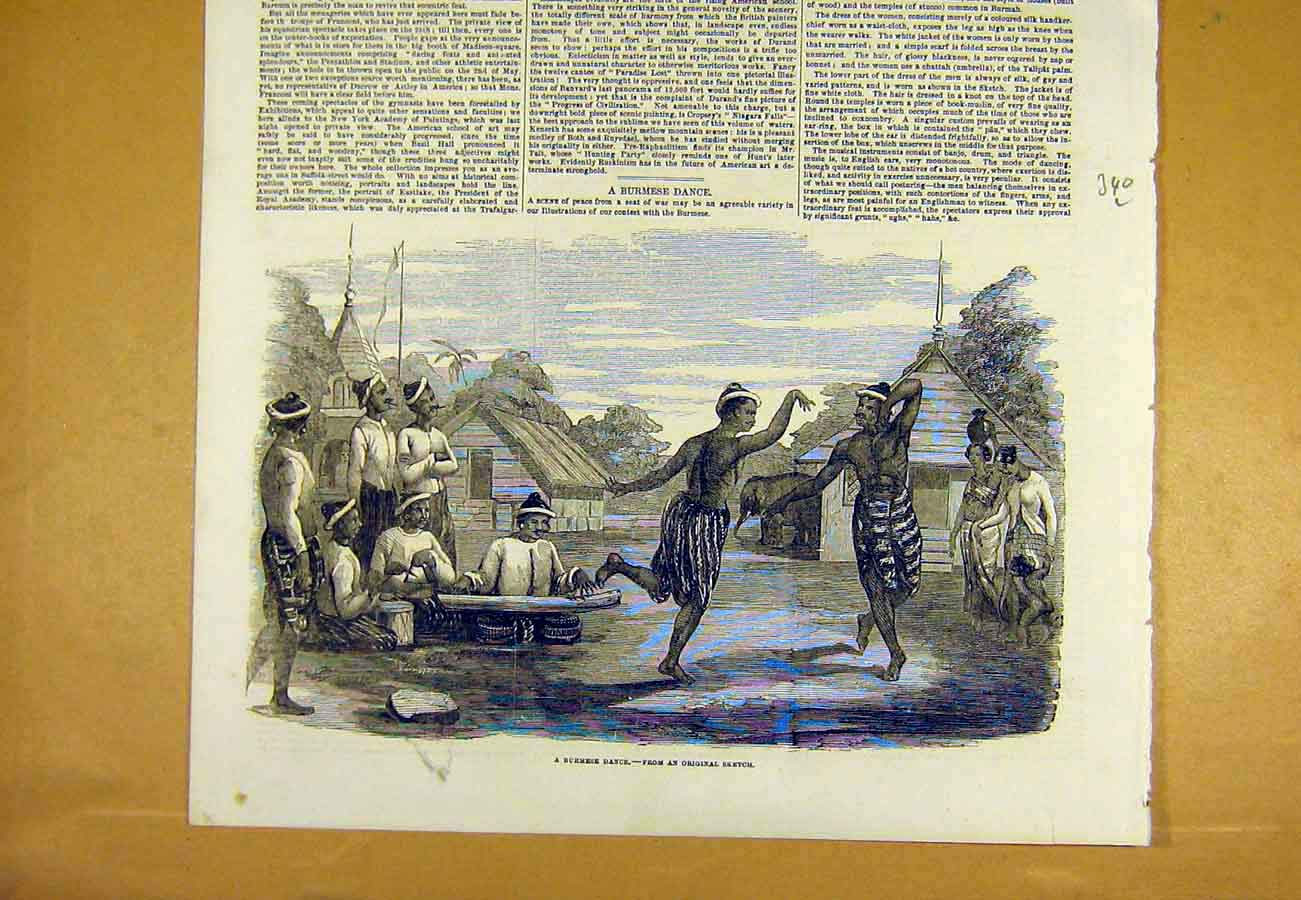 Print Burmese Dance Sketch Dancers Native 1853 40Lccc0 Old Original