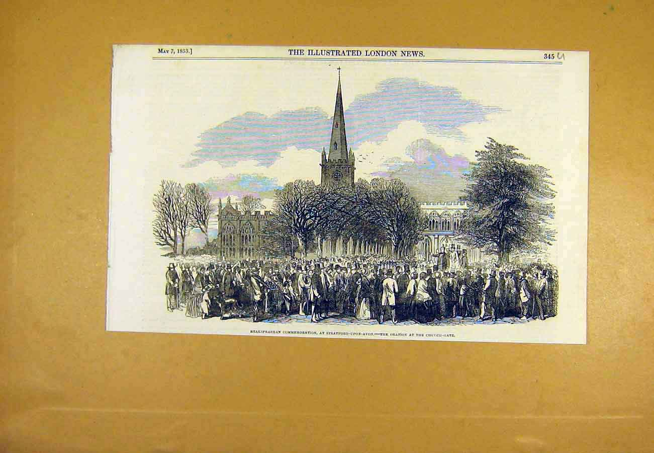 Print Shakespeare Commemoration Stratford-Upon-Avon 1853 45Uccc0 Old Original