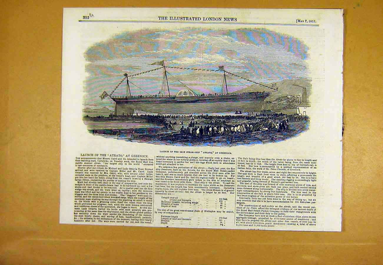 Print Launch Iron Steam-Ship Atrato Greenock 1853 52Uccc0 Old Original