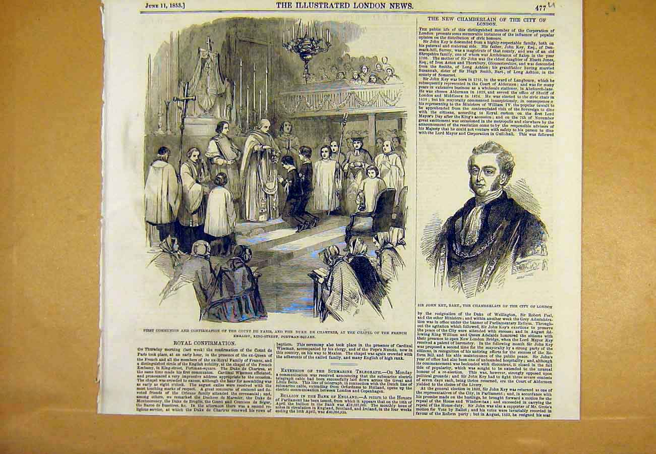 Print Communion Affirmation Paris Chartres French Embassy 77Uccc0 Old Original