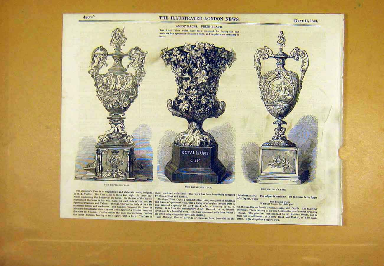 Print Ascot Races Prize Plate Cup Vase Trophy 1853 80Uccc0 Old Original