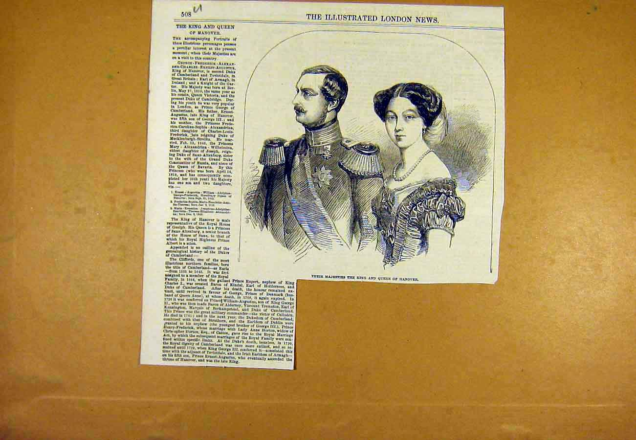 Print Portrait King Queen Hanover Royal 1853 08Uccc0 Old Original
