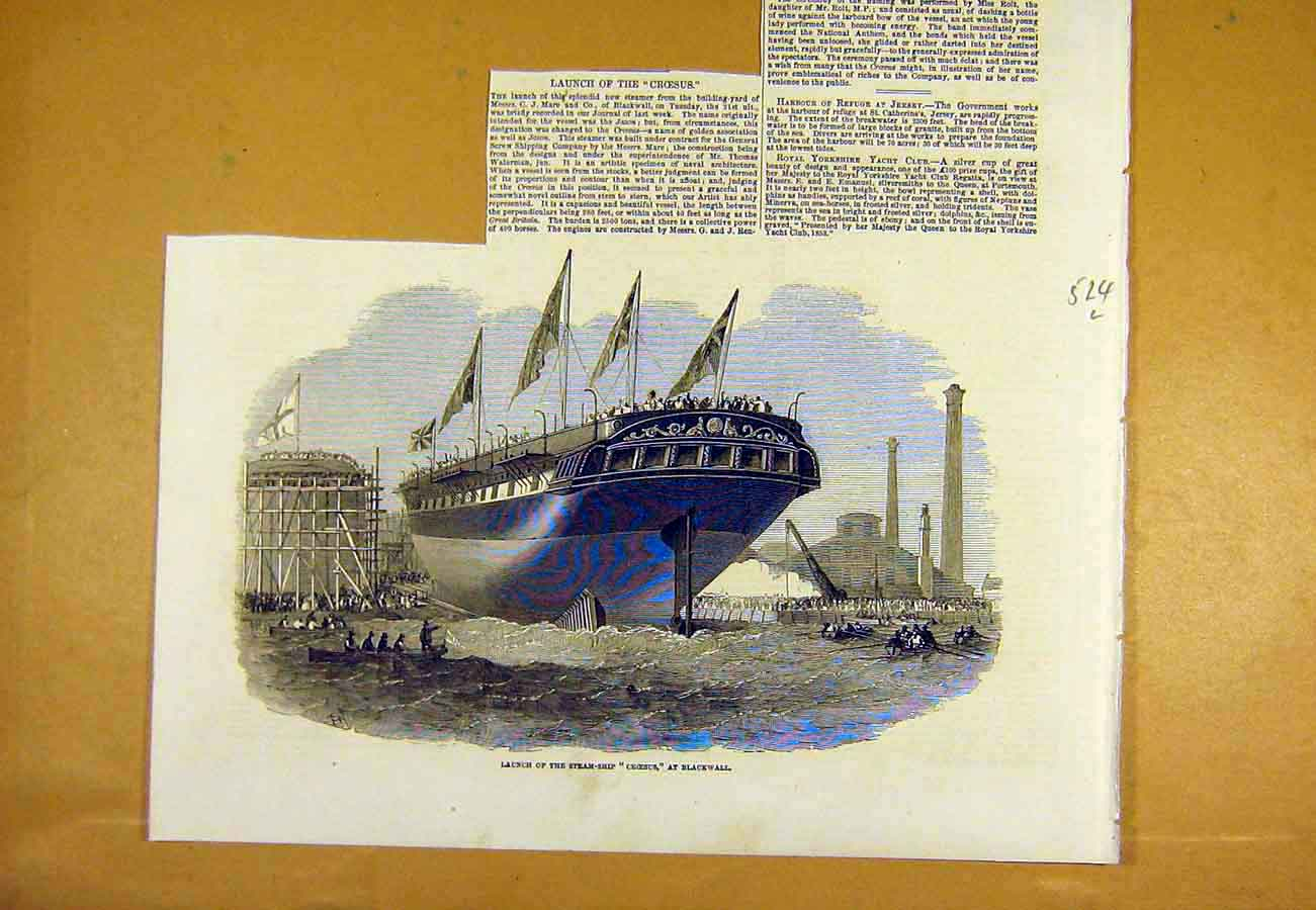 Print Launch Steam-Ship Croesus Blackwall 1853 24Lccc0 Old Original