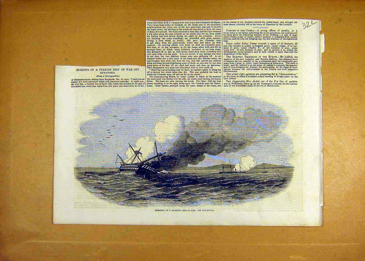 Print Turkish Ship-Of-War Fire Eupatoria 1855 32Lccc0 Old Original