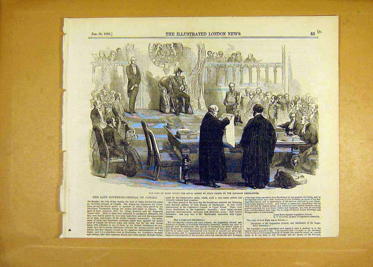 Print Earl Elgin Royal Assent Canadian Legislature 1855 53Uccc0 Old Original