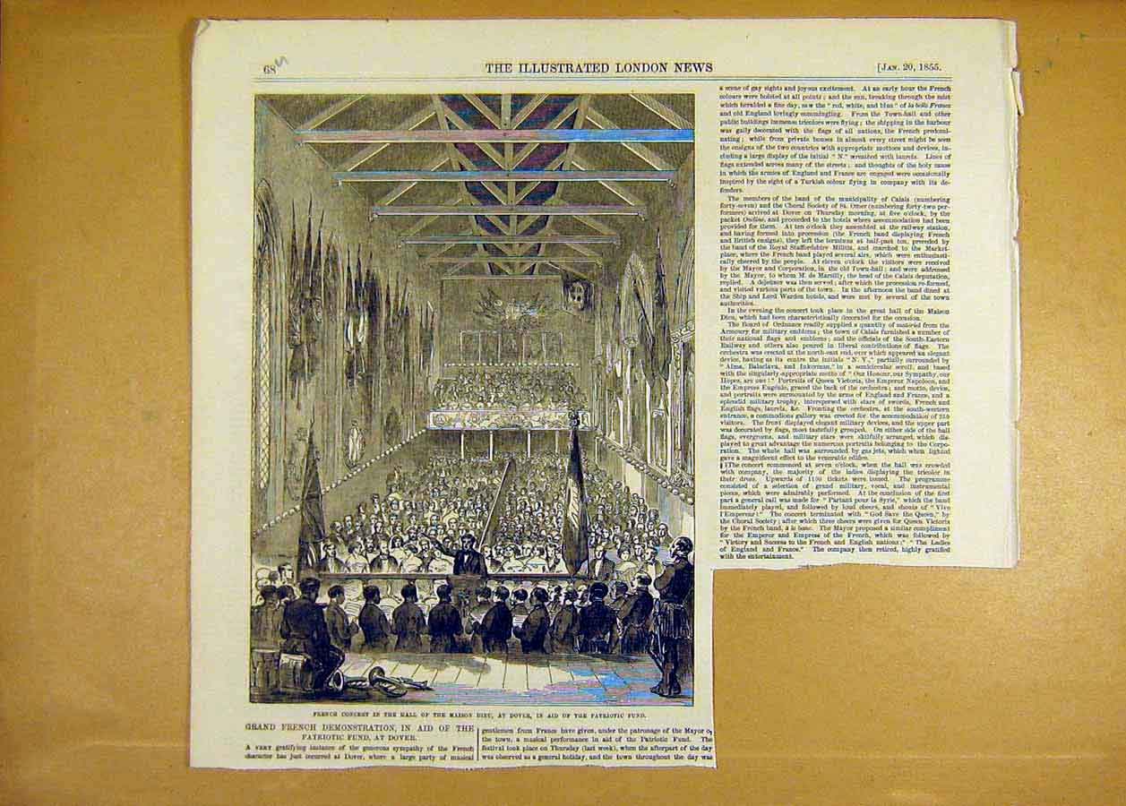 Print French Concert Hall Maison Dieu Dover Patriotic Fund 68Uccc0 Old Original