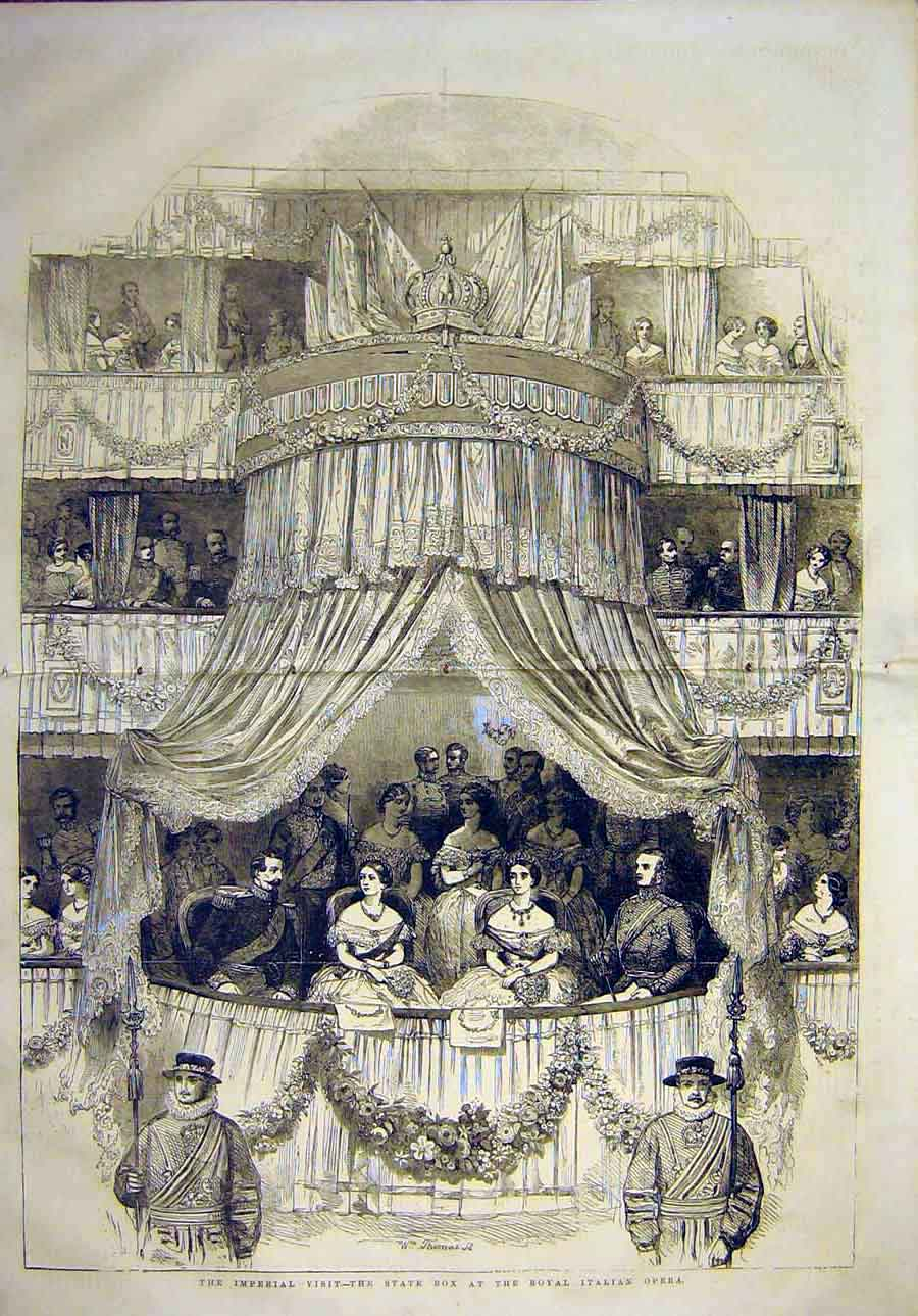 Print Imperial Visit State-Box Royal Italian Opera 1855 06Tccc0 Old Original