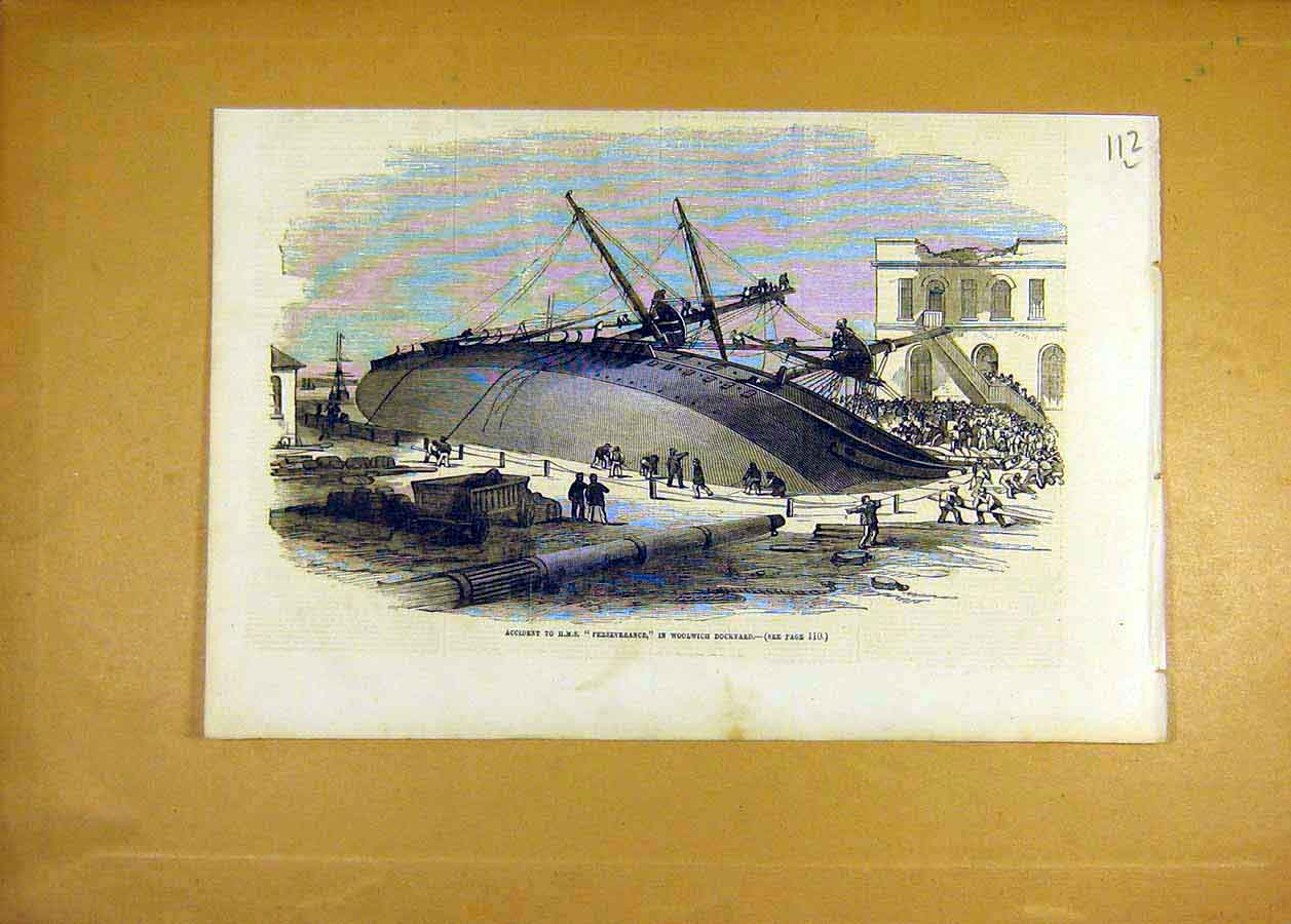 Print Hms Perserverance Accident Woolwich Dockyard Ship 1855 12Lccc0 Old Original