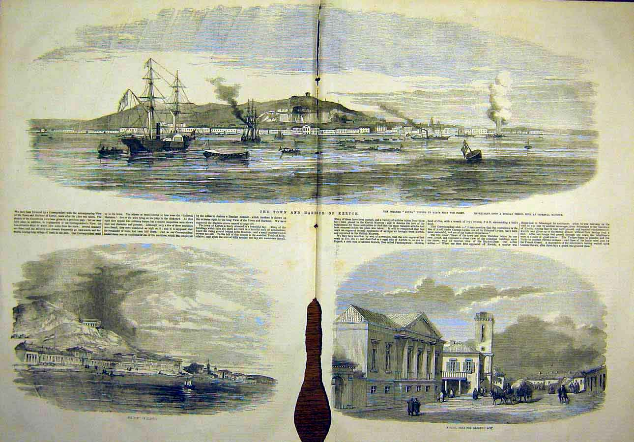 Print Town Harbour Kertch Market-Place Russian Steamer 1855 12Tccc0 Old Original