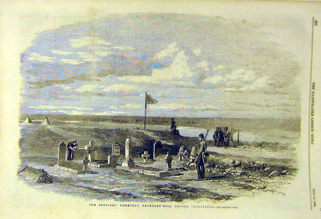 Print 1855 Officers Cemetery Cathcart-Hill Sebastopol 15Ccc0 Old Original