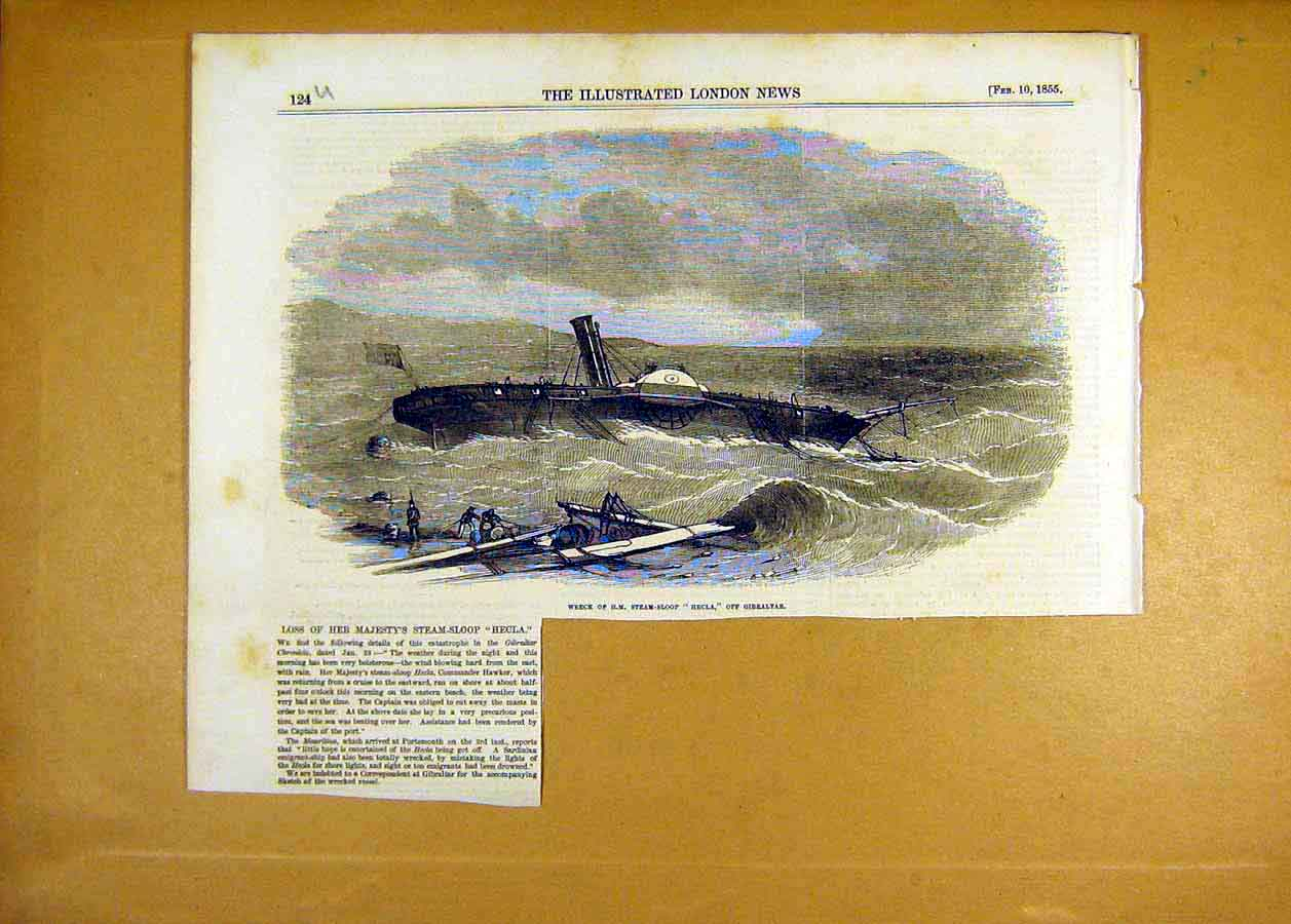 Print Wreck Hm Steam-Sloop Hecla Gibraltar 1855 24Uccc0 Old Original
