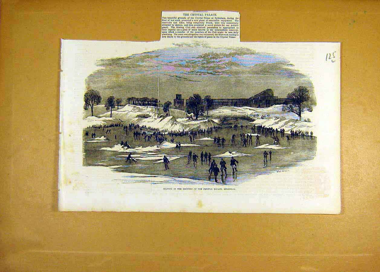 Print Crystal Palace Sydenham Ice-Skating Places 1855 25Lccc0 Old Original