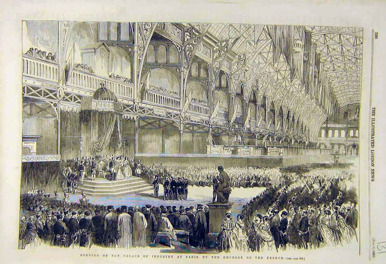 Print 1855 Palace Industry Paris Emperor French 31Ccc0 Old Original