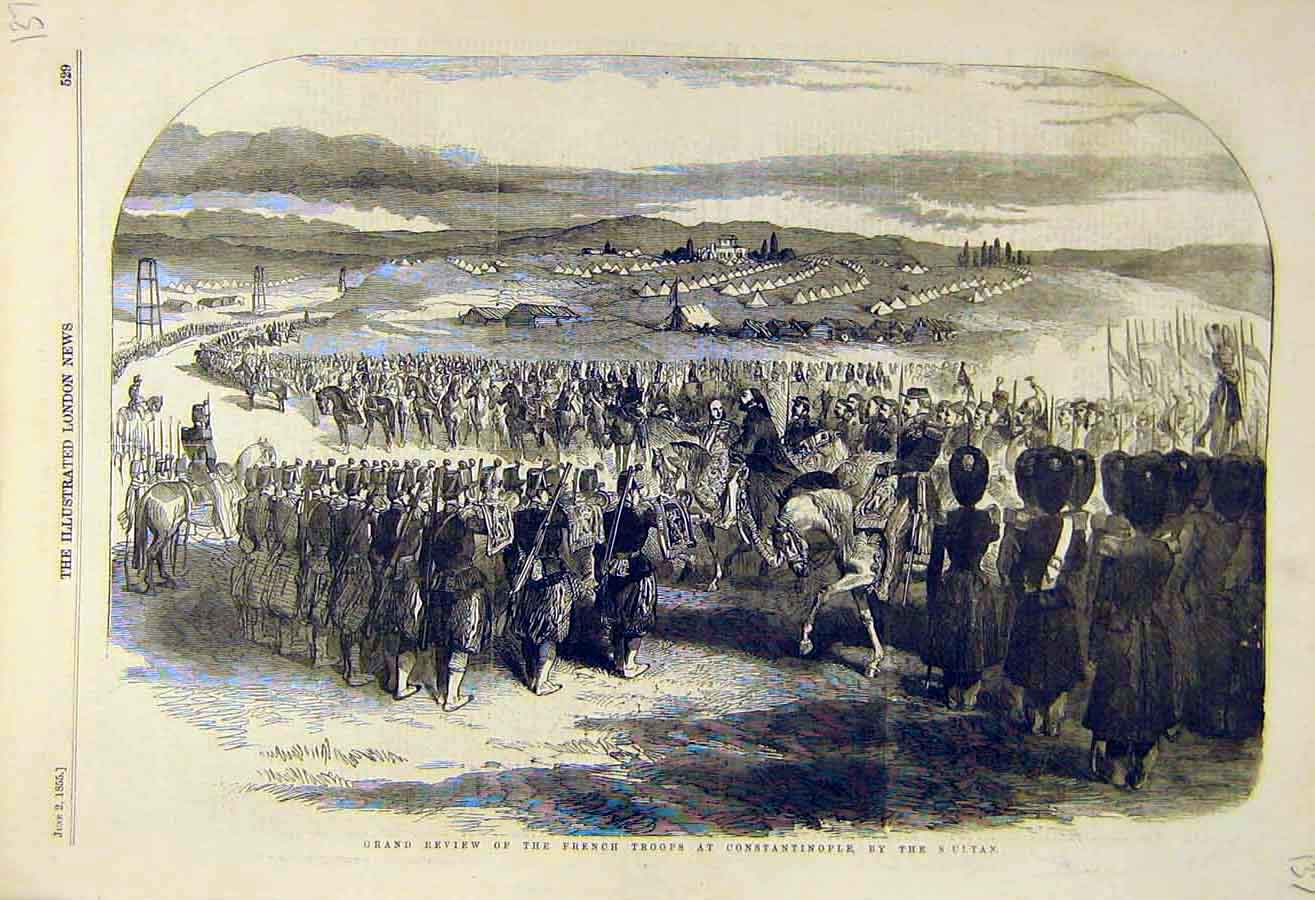 Print 1855 Grand-Review French Troops Constantinople Sultan 37Ccc0 Old Original