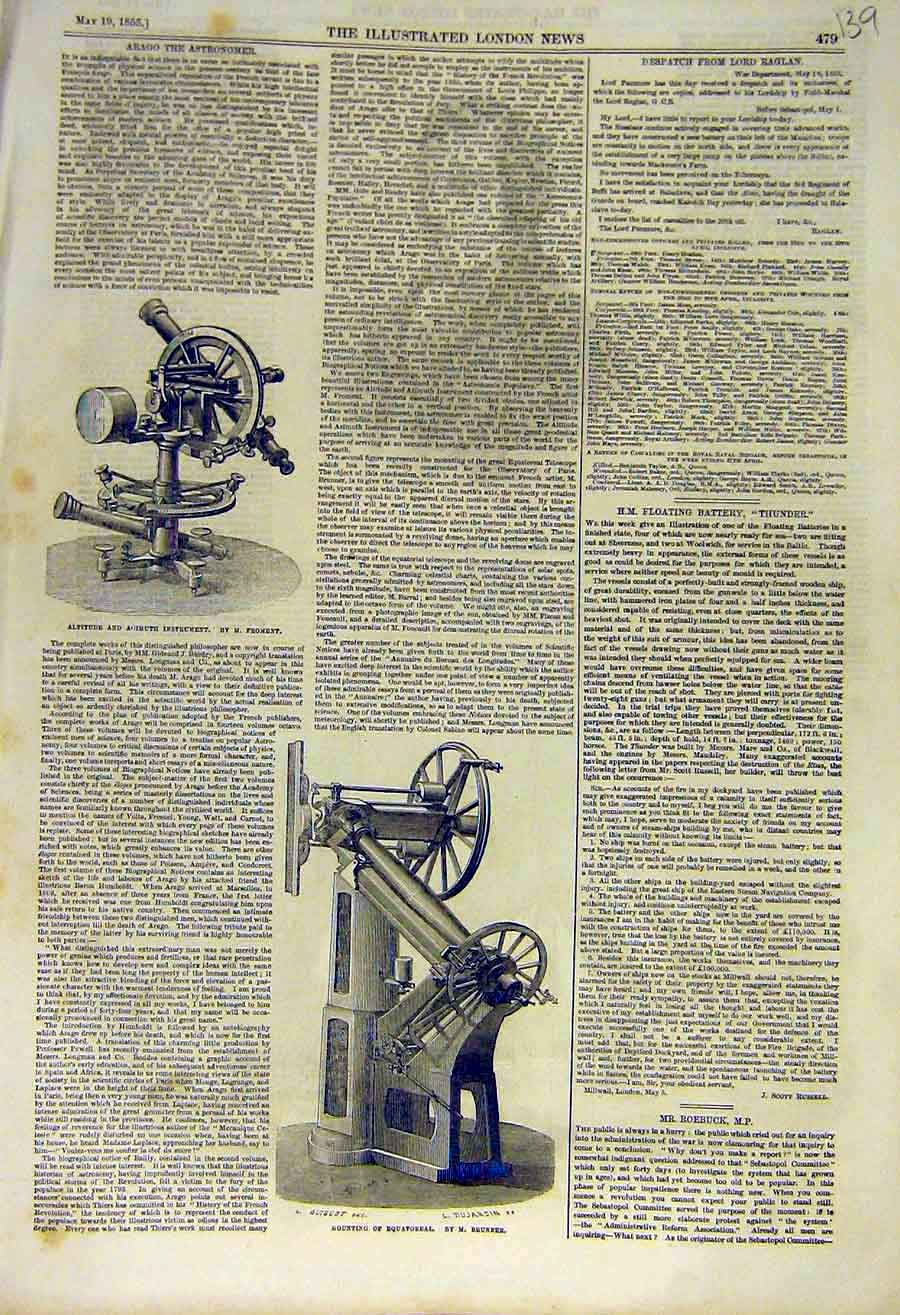 Print 1855 Arago Astronomer Froment Equatoreal Brunner 39Ccc0 Old Original