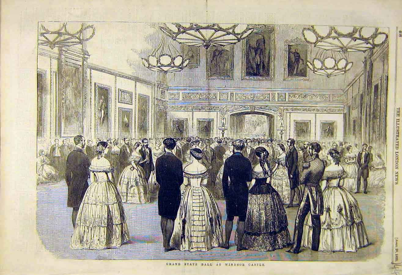 Print 1855 Grand-State Ball Windsor Castle 44Ccc0 Old Original