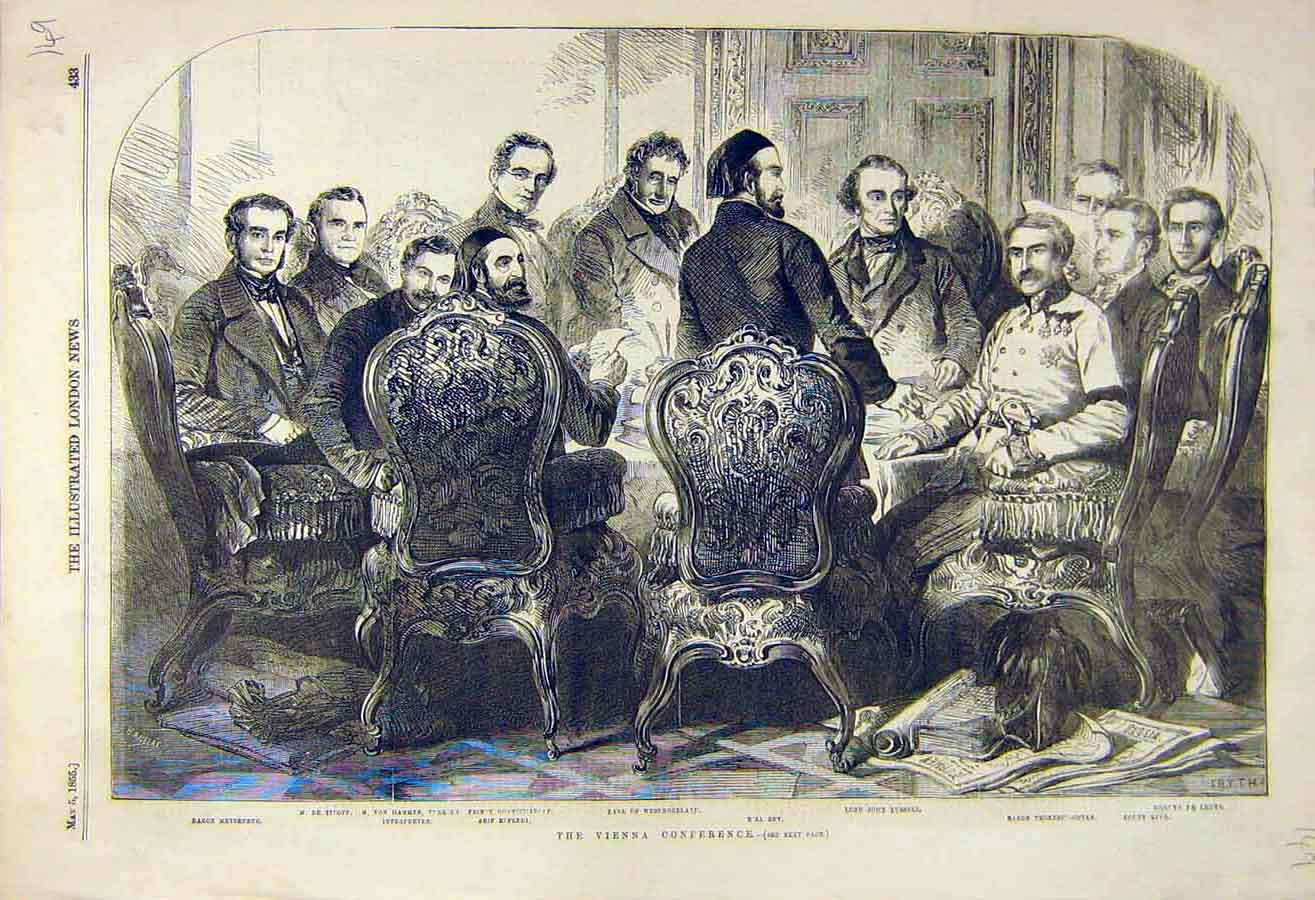 Print 1855 Vienna Conference Westmoreland Riza-Bey Russell 49Ccc0 Old Original