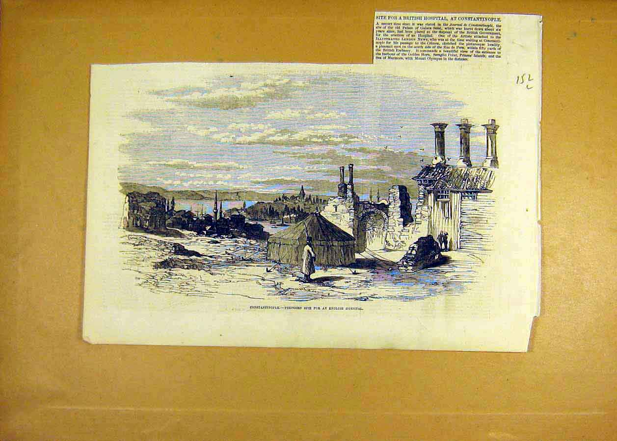 Print Constantinople Proposed Site English Hospital 1855 52Lccc0 Old Original