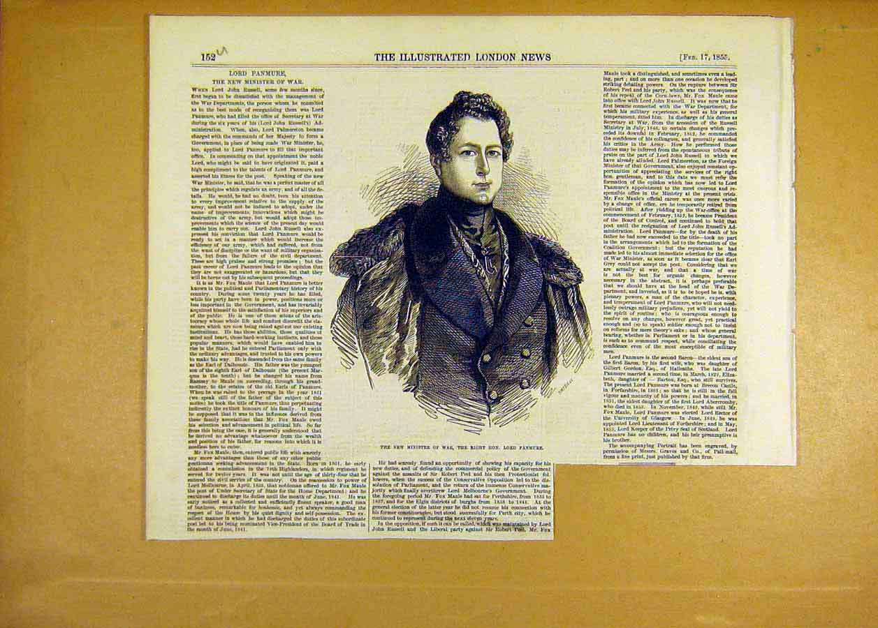 Print Portrait Lord Panmure Minister War 1855 52Uccc0 Old Original