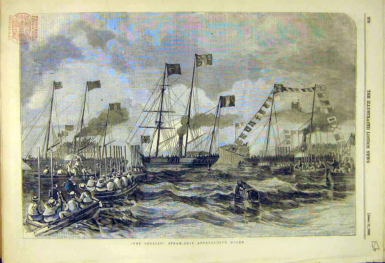 Print 1855 Pelican Steam-Ship Dover Naval 56Ccc0 Old Original