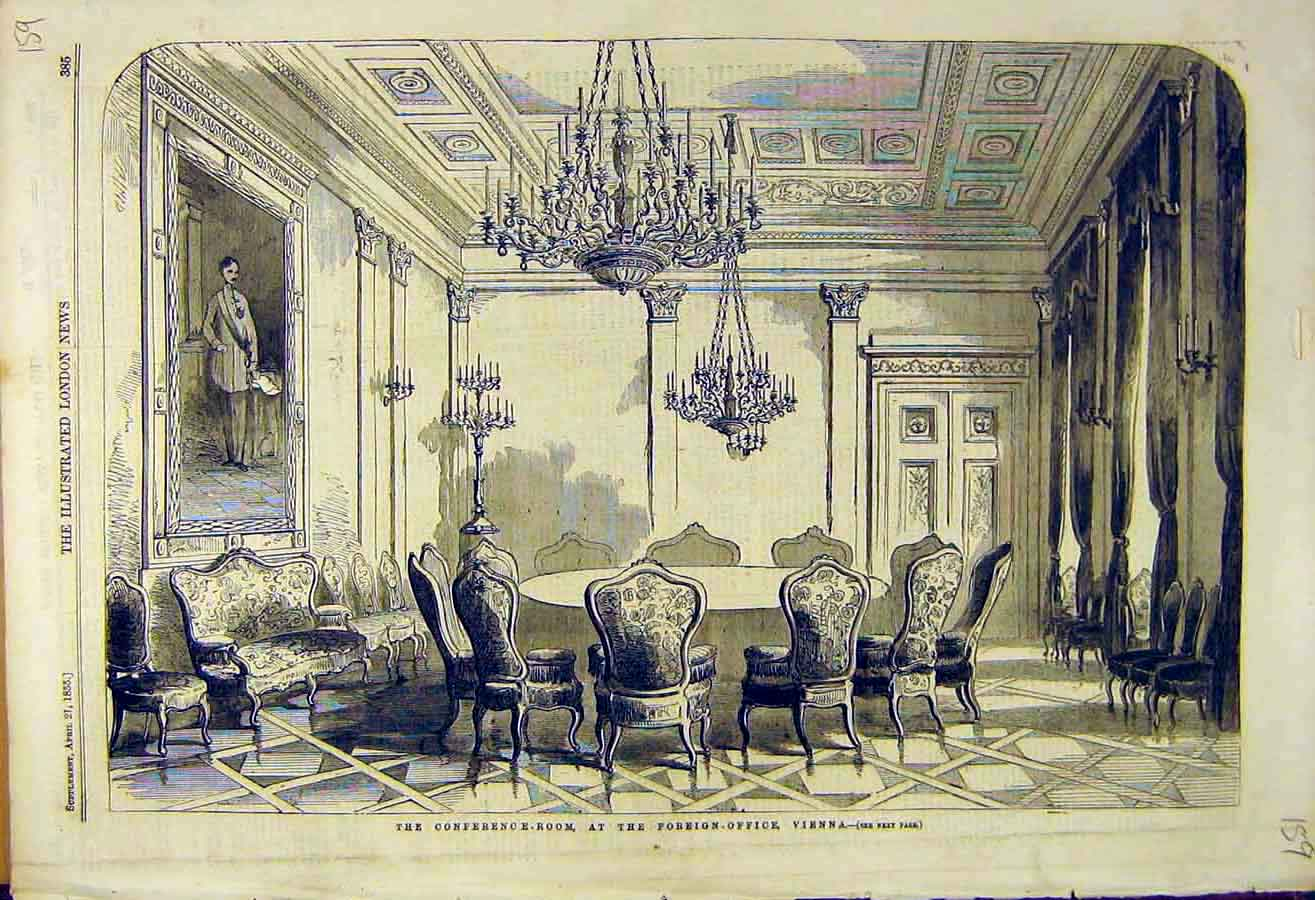 Print 1855 Conference Room Foreign-Office Vienna 59Ccc0 Old Original