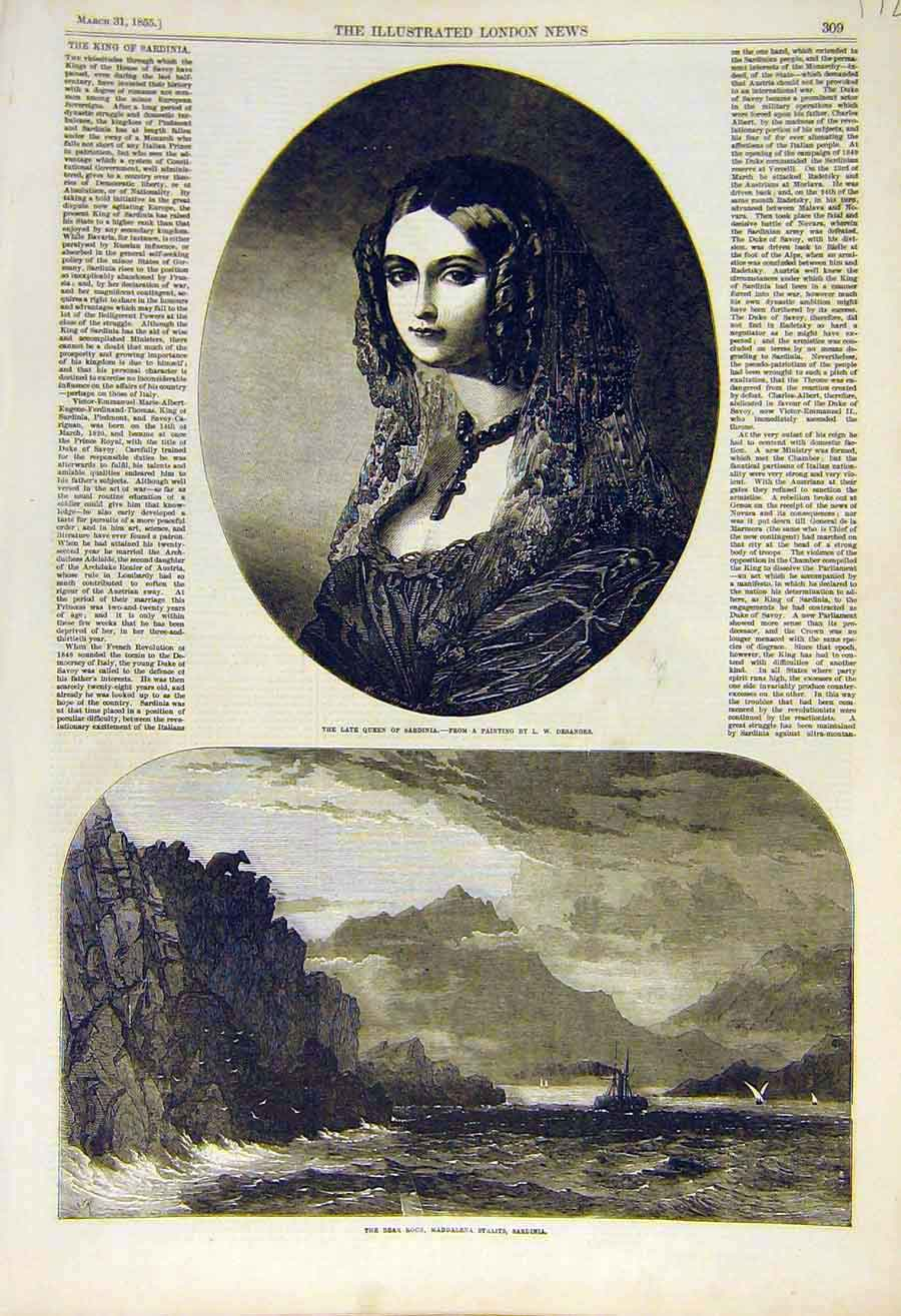 Print 1855 Portrait Queen Sardinia Desanges Bear-Rock 72Ccc0 Old Original