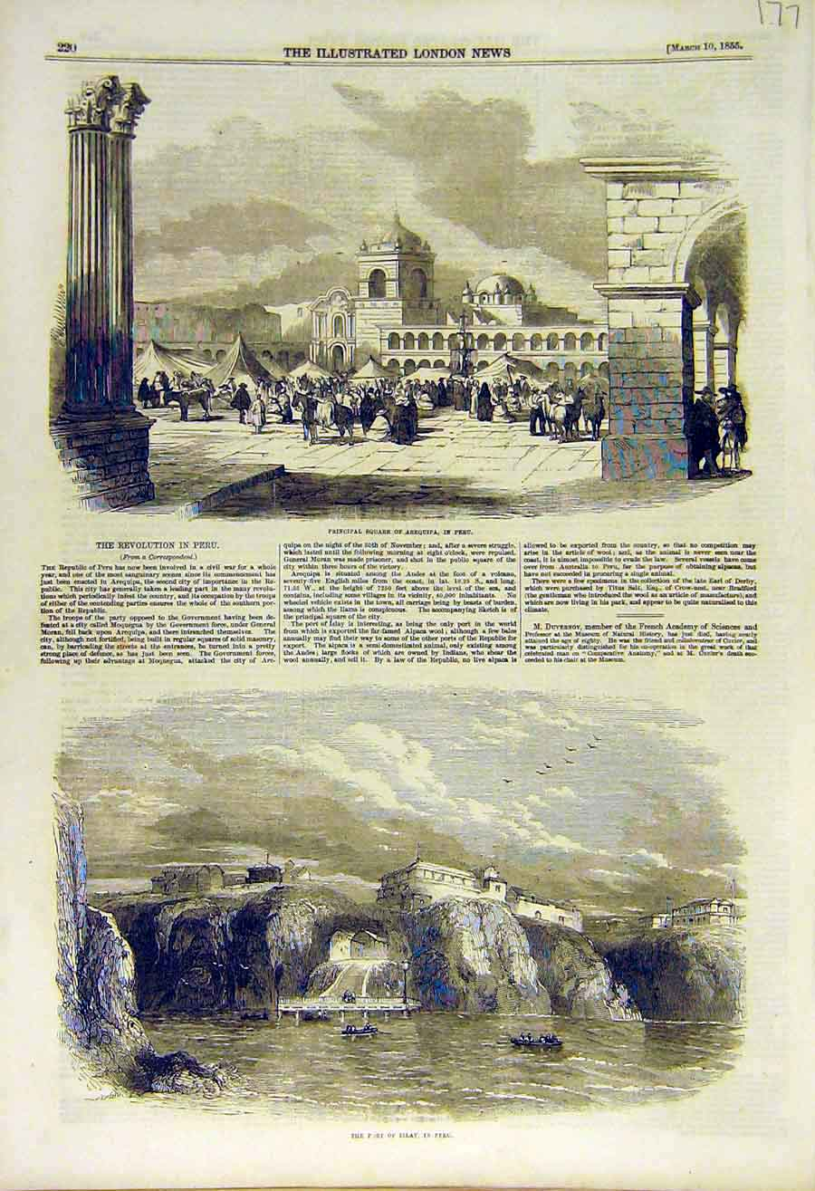 Print 1855 Arequipa Peru Square Islay Revolution 77Ccc0 Old Original