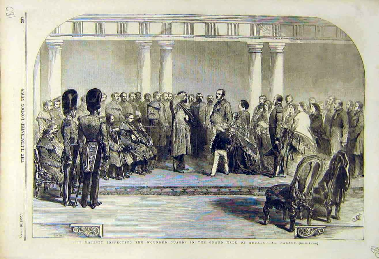 Print 1855 Buckingham Palace Queen Wounded Guards Inspection 80Ccc0 Old Original