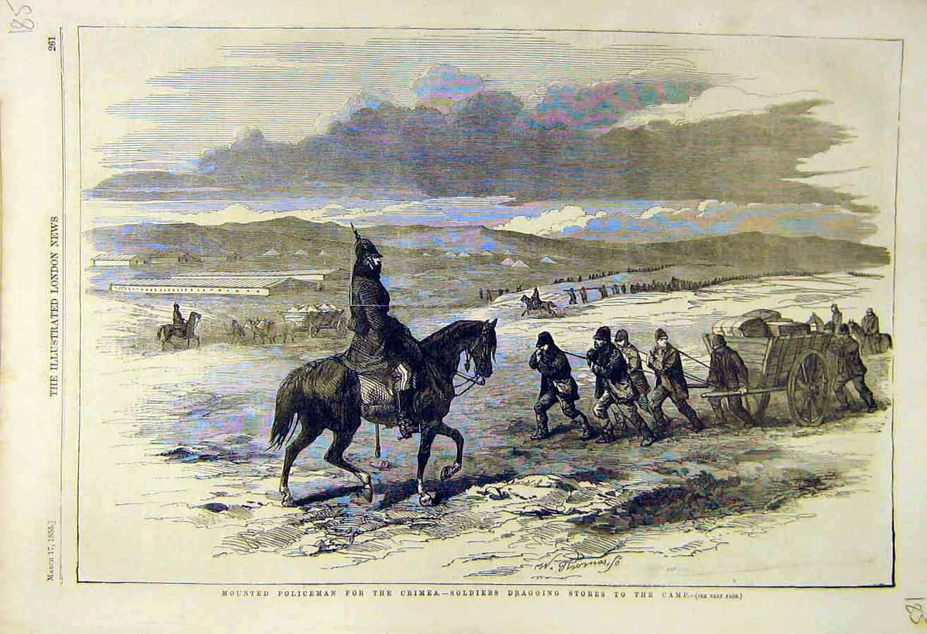 Print 1855 Mounted Policeman Crimea Soldiers Stores War 85Ccc0 Old Original