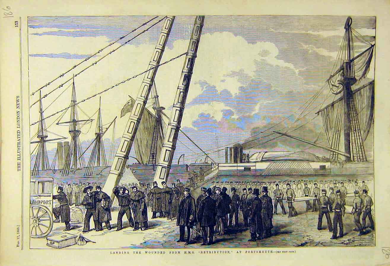 Print 1855 Hms Retribution Portsmouth Wounded Soldiers War 86Ccc0 Old Original