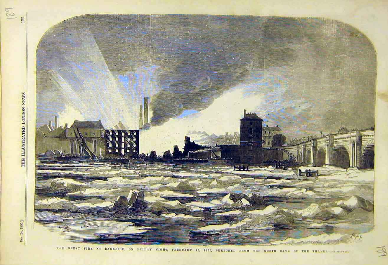 Print 1855 Fire Bankside Thames River Sketches London 89Ccc0 Old Original