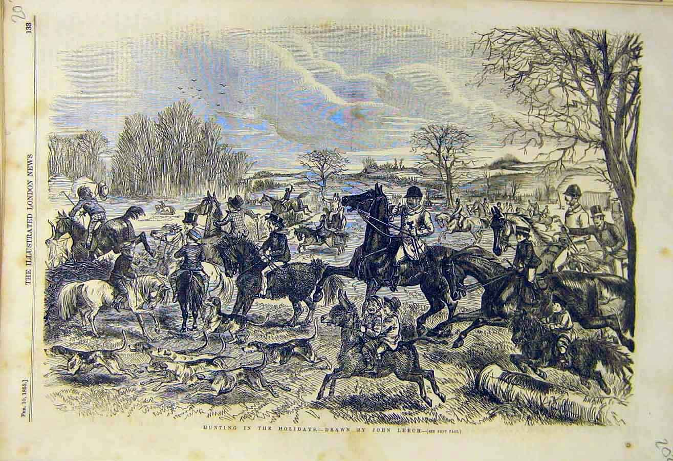 Print 1855 Hunting Holidays Leech Hunt Hounds Children People 02Ccc0 Old Original