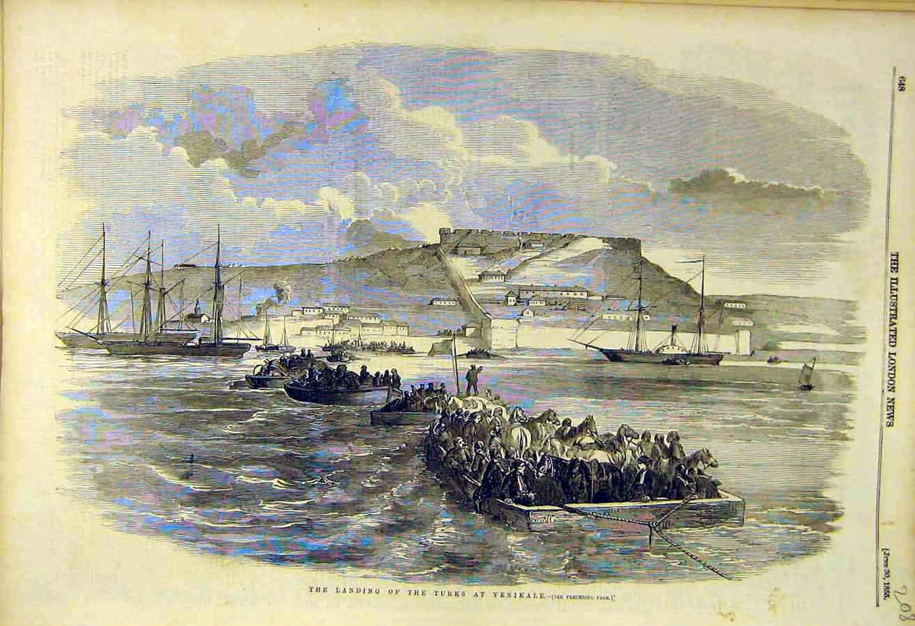 Print 1855 Landing Turks Yenikale Troops Military War 08Ccc0 Old Original
