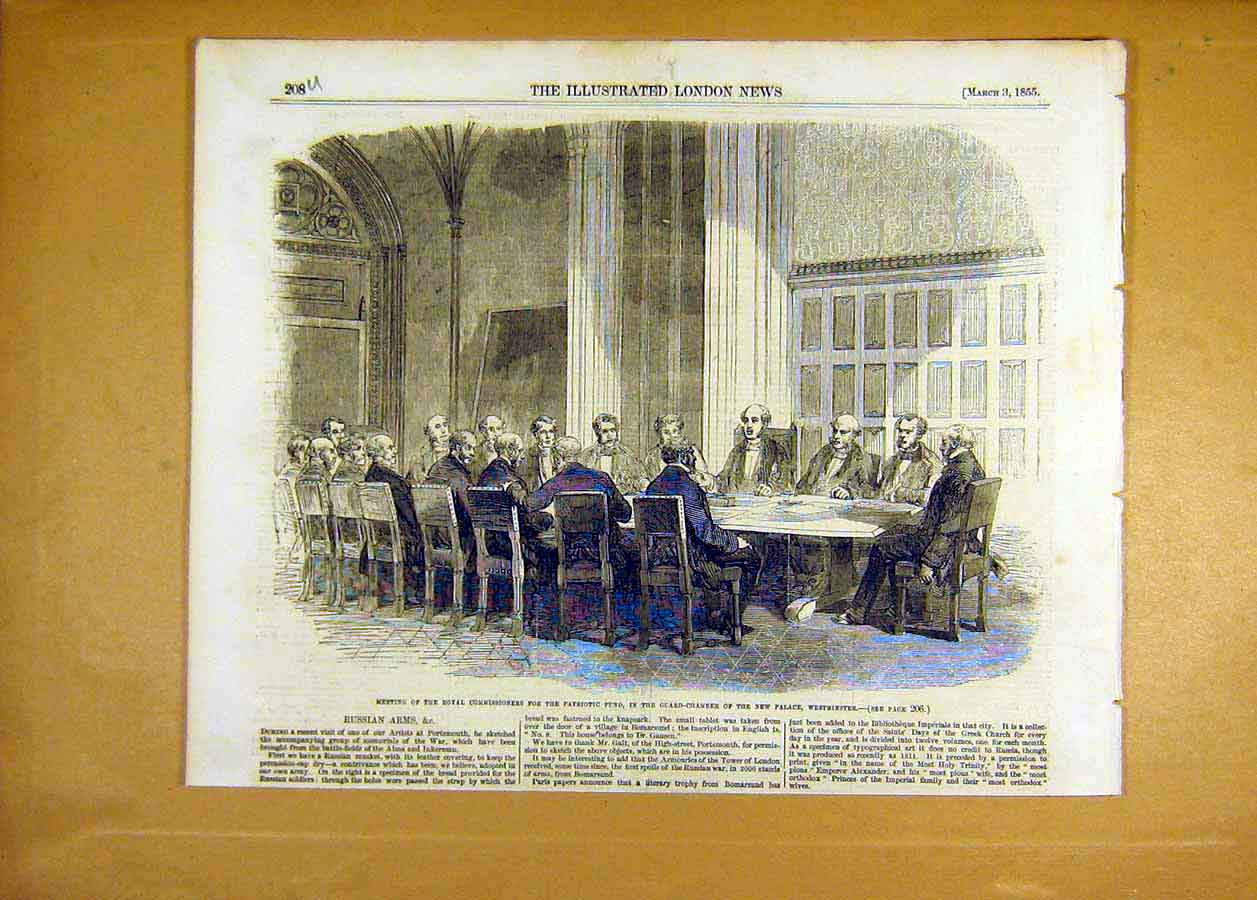 Print Royal Commisioners Patriotic Fund Westminster 1855 08Uccc0 Old Original