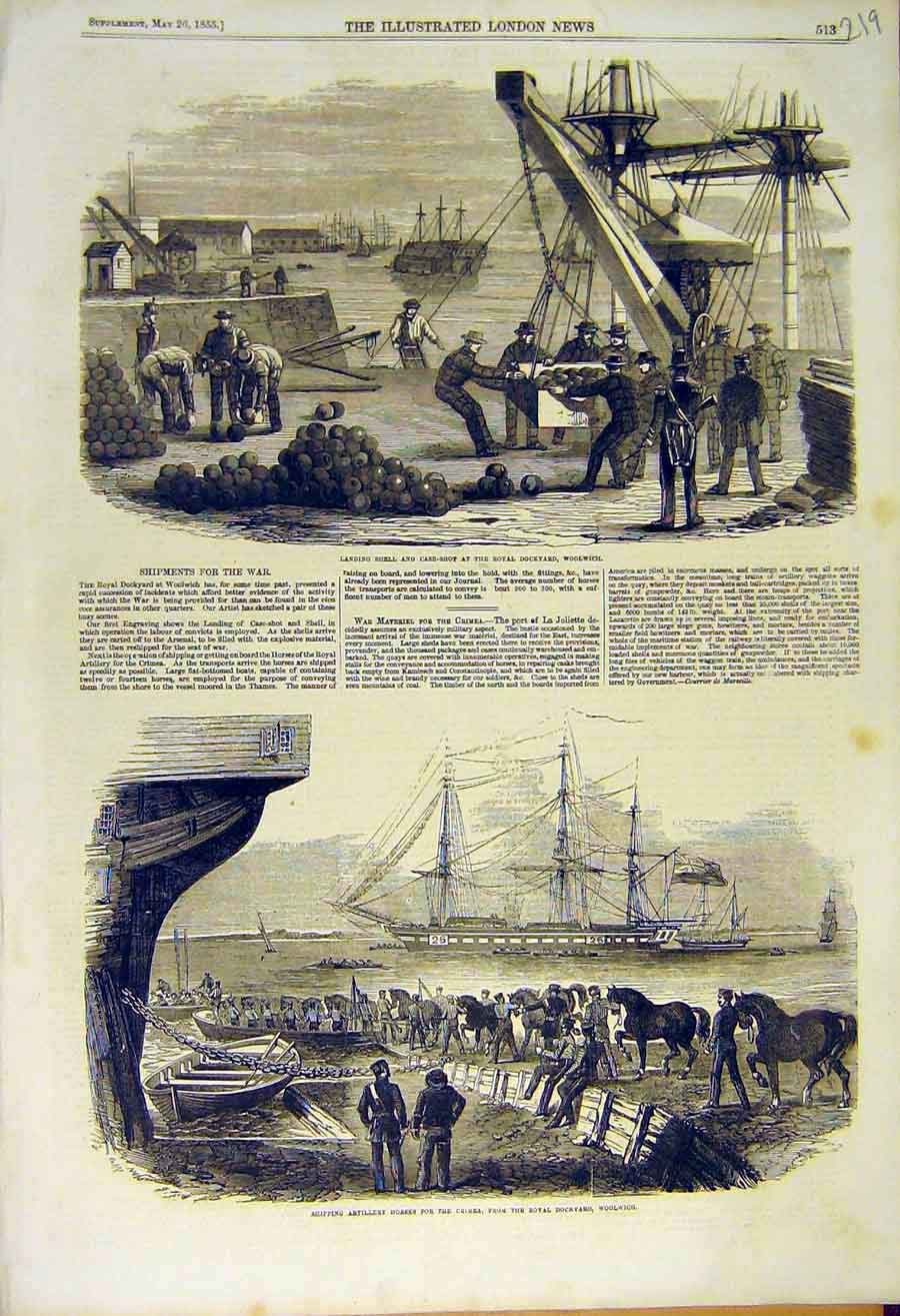 Print 1855 Woolwich Shell Case-Shot Artillery Shipping Dock 19Ccc0 Old Original