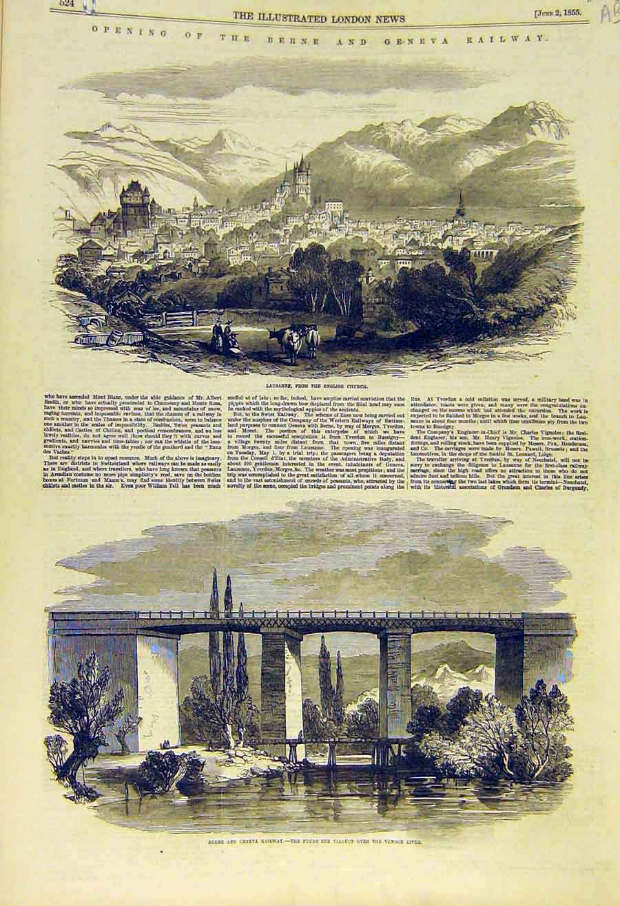 Print 1855 Berne Geneva Railway Lausanne Church Railway 23Accc0 Old Original