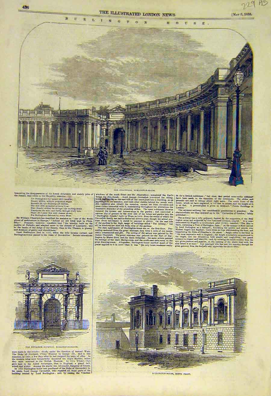 Print 1855 Burlington House Building Buckingham Palace 29Accc0 Old Original