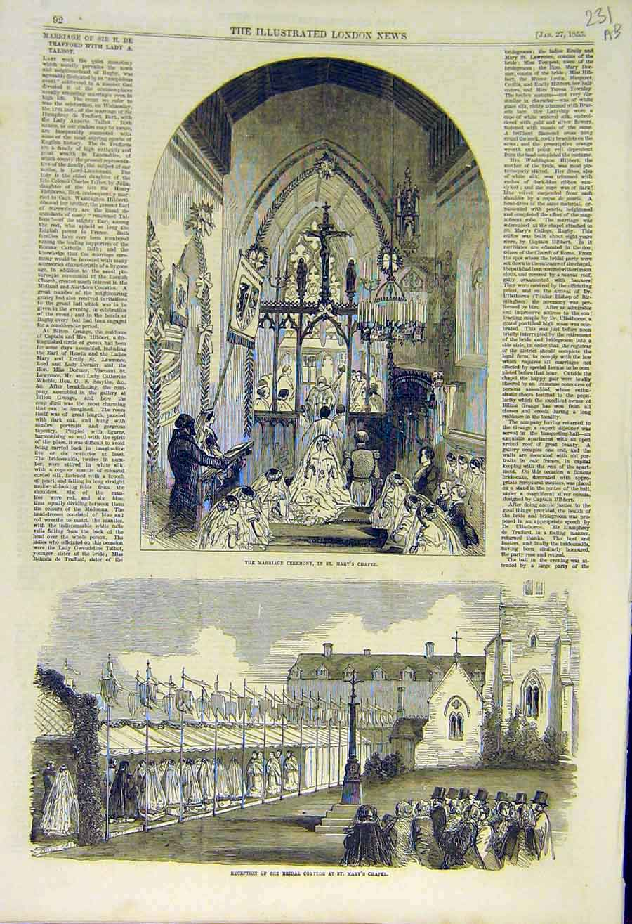 Print 1855 Marriage Ceremony St Mary'S Chapel Bilton Grange 31Accc0 Old Original