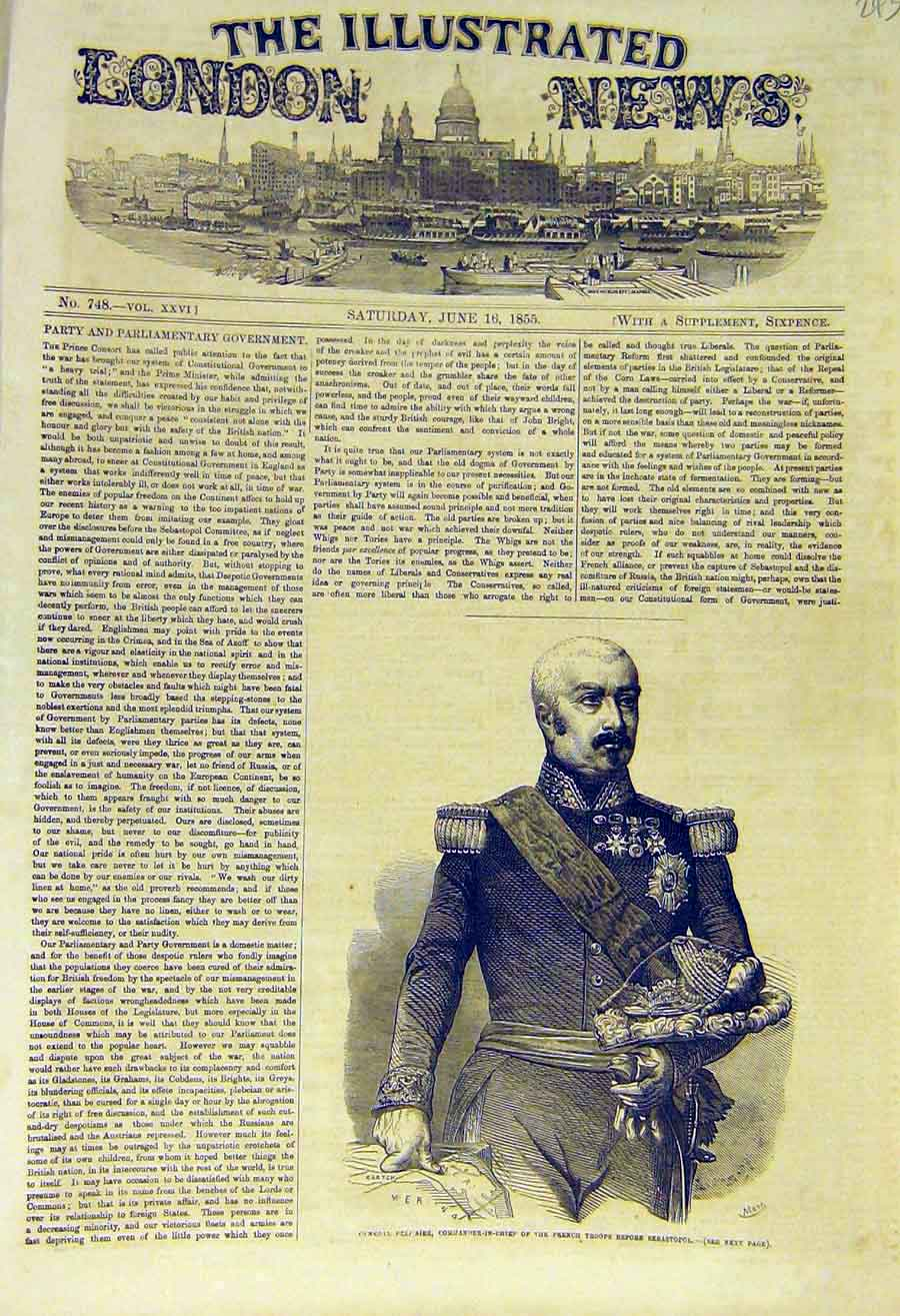 Print 1855 Portrait General Pelissier French Troops Military 43Ccc0 Old Original