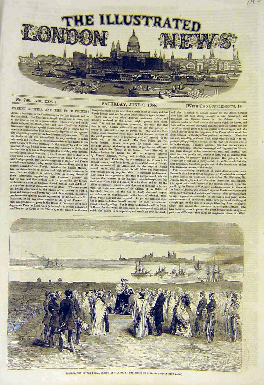 Print 1855 Burial Ground Scutari Bishop Gibraltar 45Ccc0 Old Original