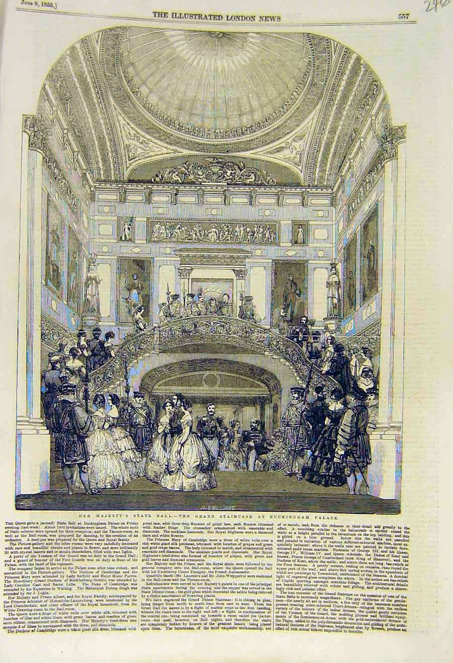 Print 1855 Queen State-Ball Grand-Staircase Buckingham Palace 46Ccc0 Old Original