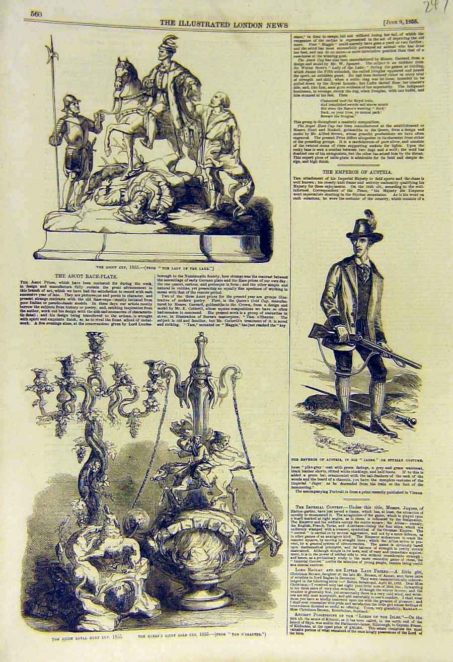 Print 1855 Ascot Race-Plate Emperor Austria Jager Styrian 47Ccc0 Old Original