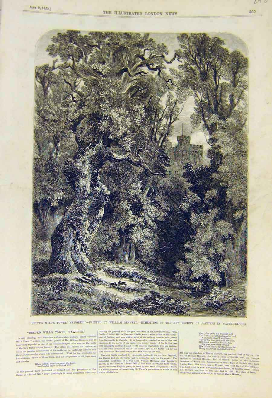 Print 1855 Belted-Will'S Tower Naworth Bennett Fine Art 48Ccc0 Old Original