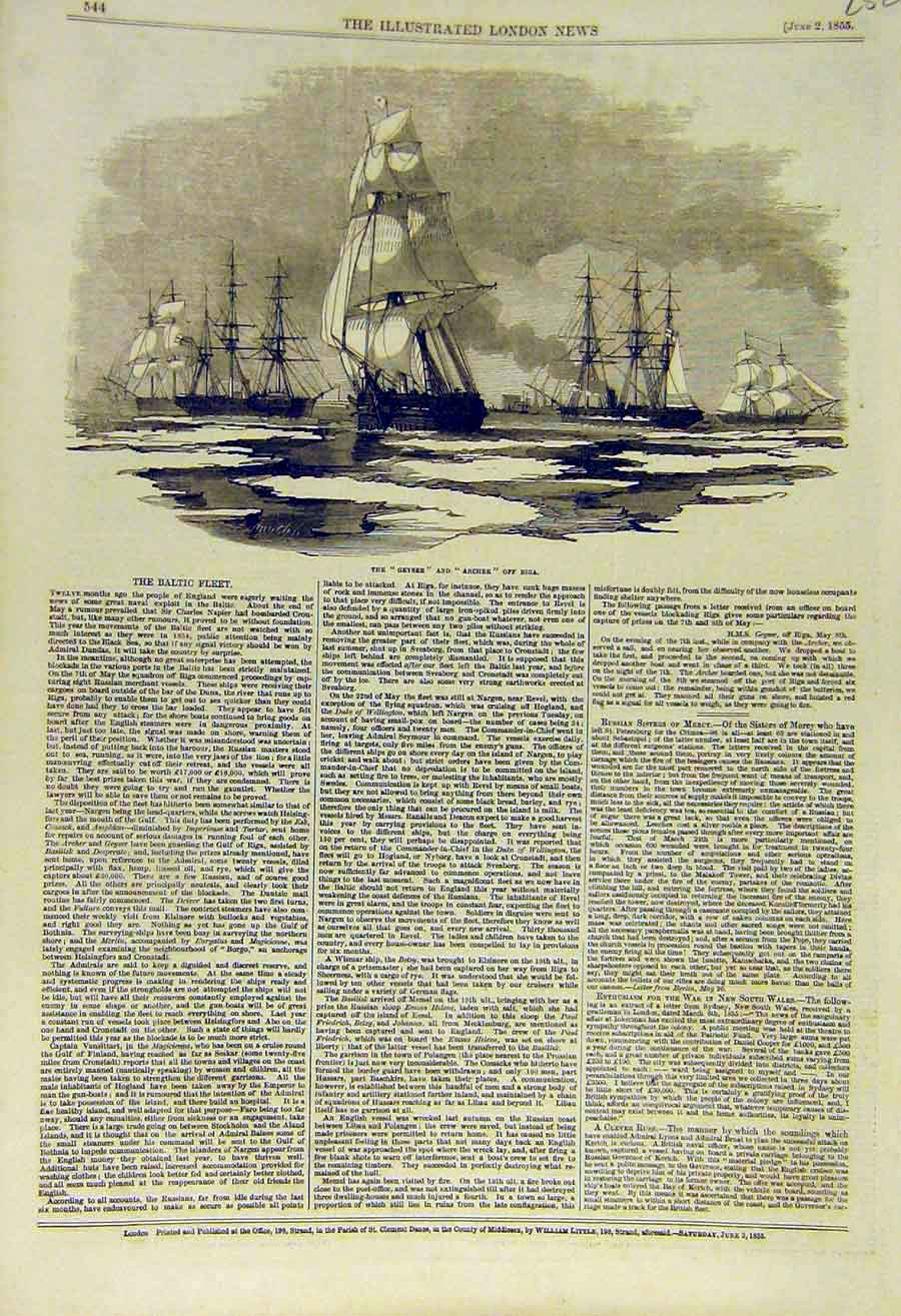 Print 1855 Geyser Archer Riga Baltic Fleet Ships Navy 52Ccc0 Old Original