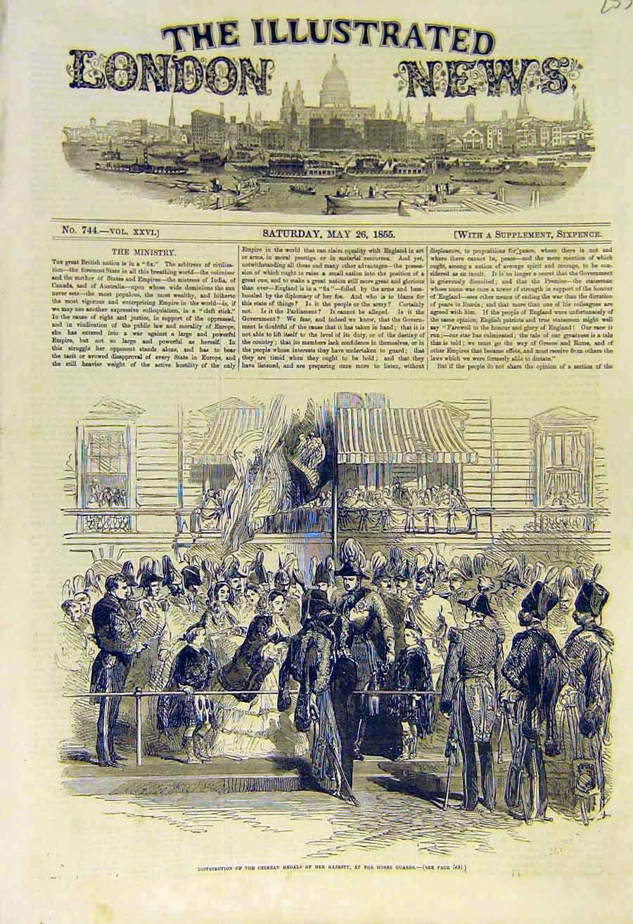 Print 1855 Crimen Medals Horse-Guards Distribution Military 53Ccc0 Old Original