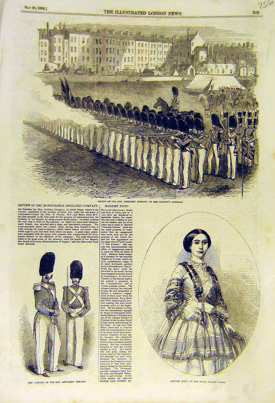 Print 1855 Review Artillery Company Uniform Opera Bosio 56Ccc0 Old Original