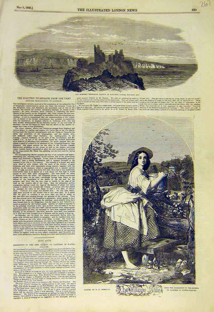 Print 1855 Electric Telegraph Kavarna Vilalge-Stile Corbould 67Ccc0 Old Original