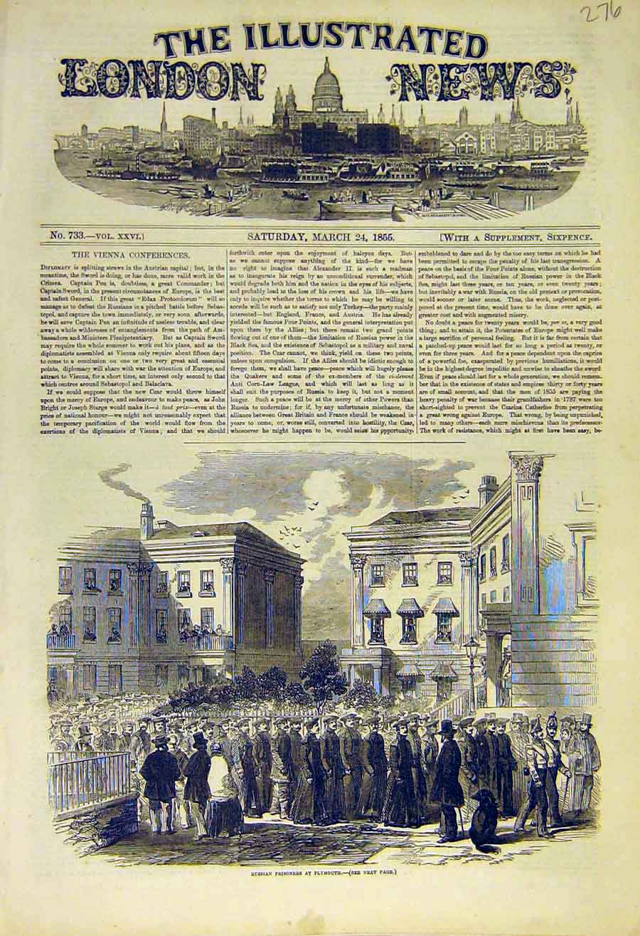 Print 1855 Russian Prisoners Plymouth War Military 76Ccc0 Old Original