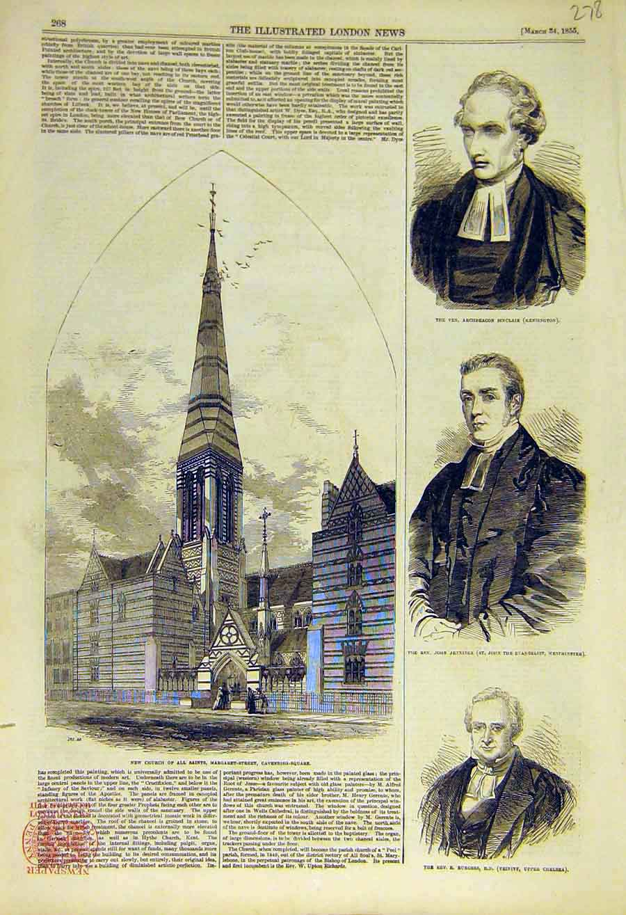 Print 1855 Church Cavendish Sinclair Jennings Burgess 78Ccc0 Old Original