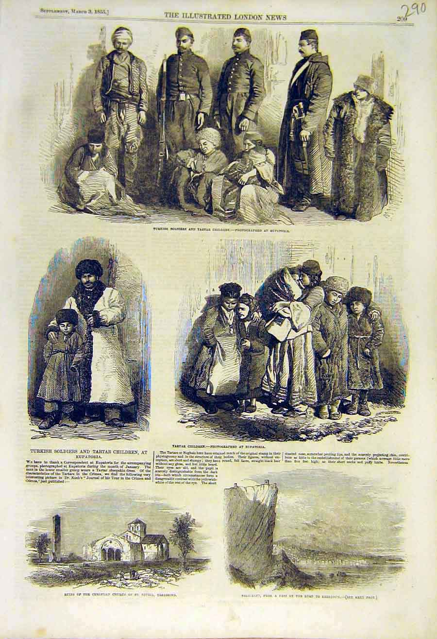 Print 1855 Turkish Soldiers Tartar Children Eupatoria Church 90Ccc0 Old Original